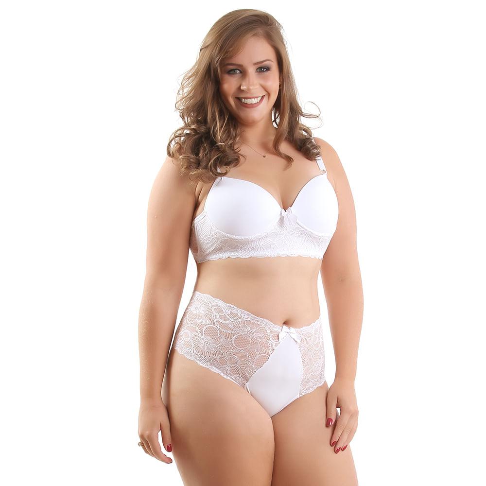 aae164c87 Vest Rio - Conjunto Plus Size em Microfibra e Renda Branco - vestrio