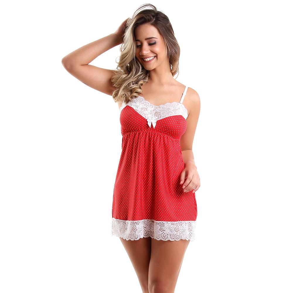 1c8291784 Camisola Sem Bojo em Liganete e Renda Estampada Vermelho Poá 7028 - Cor da  Foto