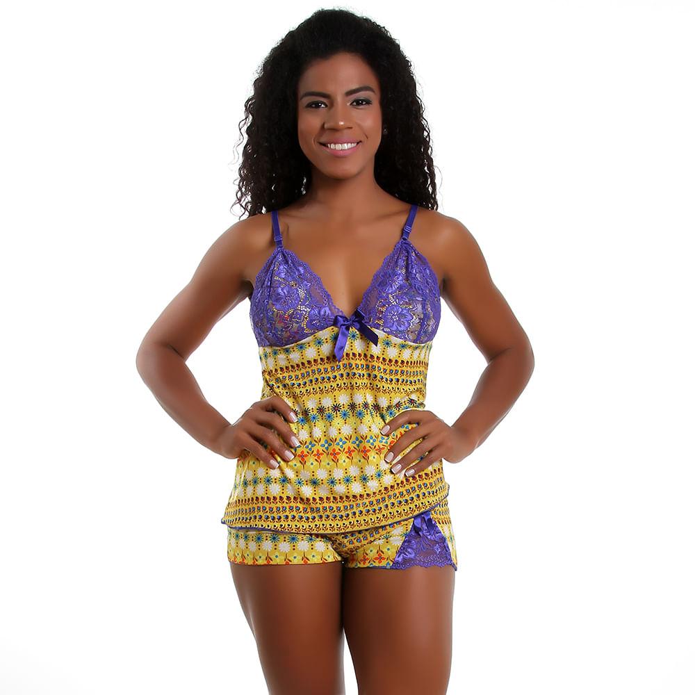 3a9d9abef Vest Rio - Baby Doll com Renda em Liganete Estampado Floral - vestrio