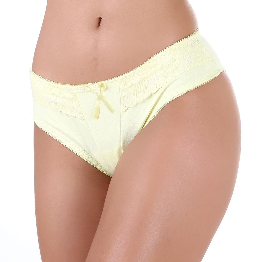 e4840367dcb Vest Rio - Calçola em Cotton Liso com Detalhe em Renda Amarela - vestrio