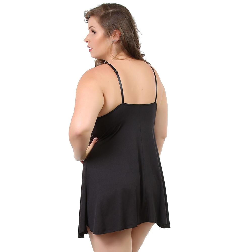 4839b20b1 Vest Rio-Camisola Plus Size em Liganete Liso com Renda Preta 7037 ...
