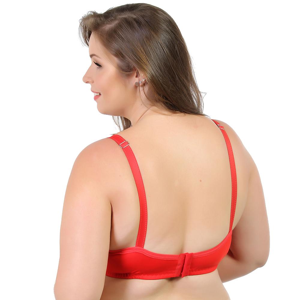 7c862088c Sutiã Plus Size Strappy com Bojo e Renda Lisa Vermelho 5010 - Vermelho 48