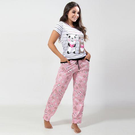Pijama-Feminino-Estampado-com-Manga-Curta-GBR009