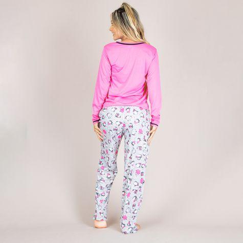 Pijama-Longo-Feminino-Adulto-de-Malha-Estampado-Rosa