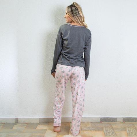 Pijama-Longo-Feminino-Adulto-de-Malha-Estampado-Mescla
