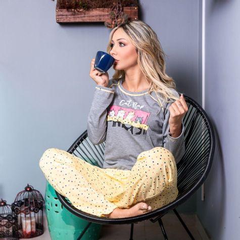 Pijama-Longo-Feminino--Adulto-de-Malha-Estampado-Mescla