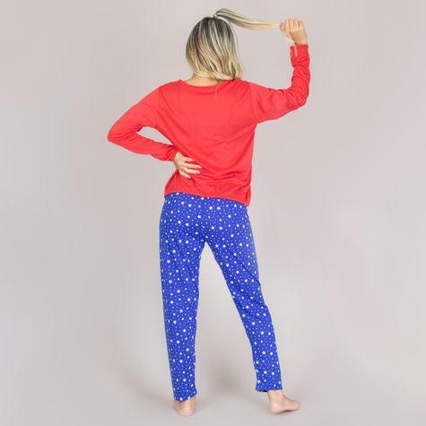 Pijama-Longo-Estampado-Adulto-Feminino-de-Malha-Vermelho