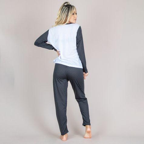 Pijama-Longo-Estampado-Adulto-Feminino-de-Malha-Preto